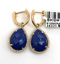 14k Yellow Gold Lapis Lazuli & Diamond Tear Drop Dangle Earrings