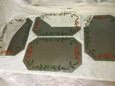 Rare 4 Christmas Holiday MIRROR place mats Holly & Pine Mats Mechanical Mirror