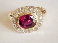 MAGNIFICENT GENUINE VICTORIAN ALMANDINE AND DIAMOND RING IN 18K GOLD.