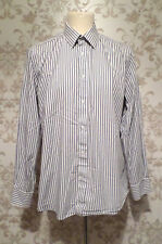 "Jaeger Shirt Size 2XL Collar 16.5"" White Grey Striped Mens #704R"