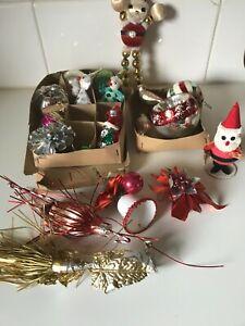 Vintage Boxes 18  Christmas Ornaments Mercury Glass Bird Santa Indent Retro Xmas
