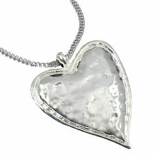 Lagenlook shiny silver large chunky heart pendant on a long necklace jewellery