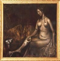Vintage Original Ölgemälde Dänhardt Basheba Rembrandt Reproduktion Rahmen Kunst