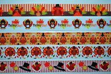 "5 yds 7/8"" Mixed Grosgrain Ribbon Thanksgiving Turkey Gobble Wobble Fall Printed"