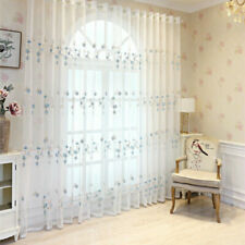 Pastoral Floral Embroidery Mesh Curtain Fabric Voile Window Panel Divider Home