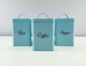 Blue Metal Vintage Tea, Coffee, Sugar Sets Storage Tins Containers Canisters