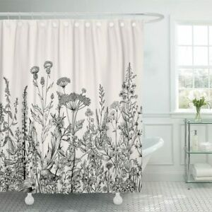 Black and White Floral Flowers Wildflower Farmhouse Fabric Shower Curtain + Hook