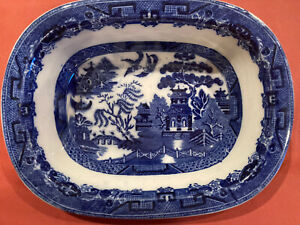 VINTAGE BLUE WILLOW VEGETABLE SERVING BOWL FLOW BLUE ENGLAND ALLERTONS FARMHOUSE