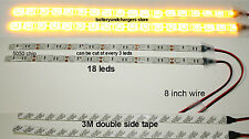 2 AMBER BRIGHT 12 inch 18 LED Waterproof Flexible Light Strip white  PCB board