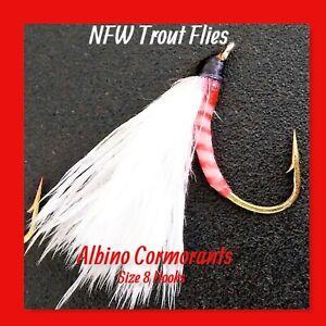 Quality Trout Flies - Qty 3 Albino Cormorants- Size 8 Hooks (New)