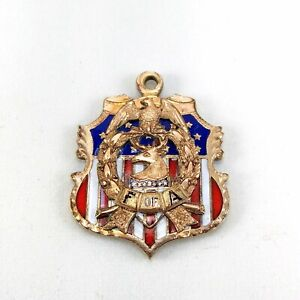 Antique Vtg Gold Filled Fraternal Foresters Of America Eagle Dear Flags Pendant