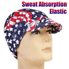 Universal Sweat Absorption Elastic Welding Welder Hat Cap Cotton Patriotic Flag