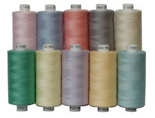 10 Pastel Colours of Moon Polyester Sewing Thread, 1000yds Each Spool