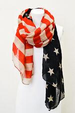 "American Flag Vintage Scarf Wrap Star Stripe 4th Of July Red Blue Khaki 71"""