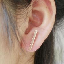 Gold Line Earrings Long Round Bar Stud Earring Girls Modern Minimalist Jewelry