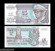 Zaire 5 Nouveaux Makuta 1993 P-48 Perfect Mint UNC Uncirculated Banknotes