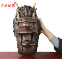 16'' Chinese Fengshui Dragon Head Bronze Statue