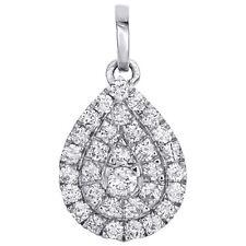 "10K Blanc or Diamant Véritable Larme Cadre Halo Pendentif 0.75 "" Pierre Breloque"