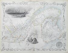 c1854 WEST CANADA Genuine Antique Map by Rapkin