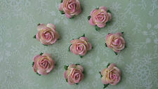 2 tone Mulberry Paper Roses, Pink, 15mm, Shabby Chic, Wedding, Craft