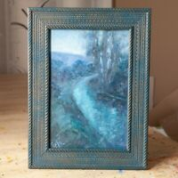 Twilight by river - Framed ORIGINAL by M. Sacke, Night Landscape Oil Painting