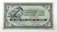 1962 Canadian Tire Money 5 Five Cents CTC-5-A Circulated Mor Power Gas E156