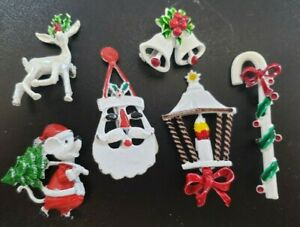 Vintage to Now Christmas Holiday  Brooch Pin Lot  White Bells Reindeer Santa