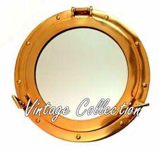 "15"" Antique Maritime Brass Round Porthole Window Glass Nautical Boat Port Mirror"