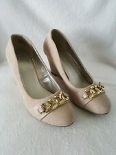MADELINE STUART Slip On Shoes Size 8W Taupe Suede Wedges Gold Chain Accent