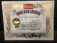 RARE Vintage 1981 OFFICIAL COORS HOME BAR LICENSE GOLD EMBOSSED SEAL GOLD BORDER