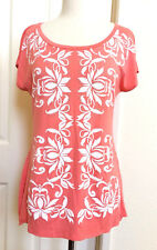 BLEU *NEW SIZE (XL) PEACH WHITE FLORAL STUDDED ROUND NECK DOLMAN SLEEVES TOP