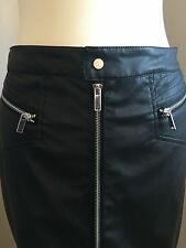 Mohito Black Rock Chic Biker Style Faux Leather Skirt Size 38 New With Zips