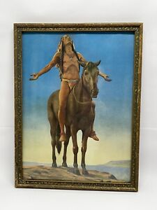 "Antique Framed Print ""Appeal to the Great Spirit"" by Cyrus Dallin - Great Color!"