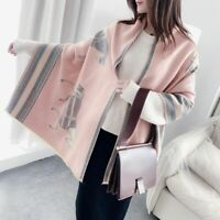 Women Thick Warm Cashmere Shawls Wraps Winter Scarf Horse Printed Blanket Cape