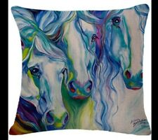 Three HORSEs  Cushion Cover 45 X 45cm linen cotton  stunning. Watercolours