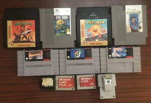 Lot of 7 Nintendo NES & SNES Games & 4 Miscellaneous Items *UNTESTED* Total 11