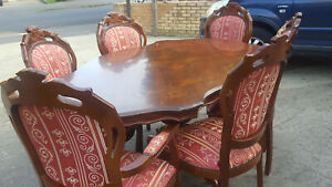 Italian Rococo Inlaid Dining Table and 6 louis Style Chairs.
