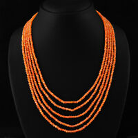 205.00 CTS NATURAL 5 LINE RICH ORANGE CARNELIAN FACETED BEADS NECKLACE - ON SALE