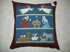 Handmade Accent or Decorative Pillow Featuring Nativity Nwt