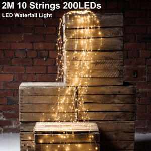 10 Strands LED Vines Branch Waterfall Lights Copper Wire String Rain Drop Lights