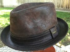 STETSON GERMANY RADCLIFF PIGSKIN LEATHER PORK PIE FEDORA BROWN M 57cm 7 1/8