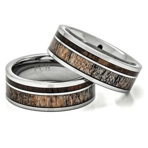 Deer Antler Ring Tungsten Wedding Band Koa Wood Inlay 8mm Comfort Fit  7-15