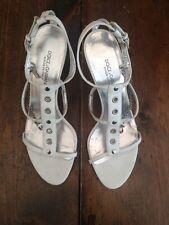 DOLCE & GABBANA White Leather Gladiator Sandal Heels Chain Lock Key 37/ 6.5