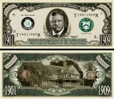 26th President Theodore Roosevelt Million Dollar Funny Money Novelty Note +SLEEV