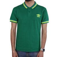 Polo Uomo UMBRO Sport Cotone Maniche Corte Colletto T-Shirt  Tinta unita Verde
