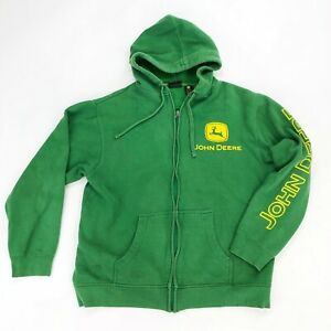 John Deere Green Classic Logo Full Zip Hoodie Jacket Hooded Sweatshirt M Medium