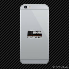 Distressed Kansas State Shaped Subdued US Flag Thin Red Line Cell Phone Sticker