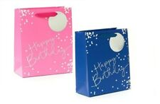 Happy Birthday GIFT BAG Medium Paper Blue Silver Foiled Gift Tag Boys Men Male