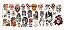 1/12 Scale Custom Tattoos for action figures: Sugar Skulls - Waterslide Decals
