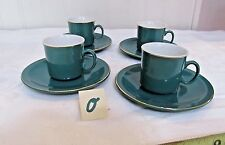 Set of 4 Espresso Cups and Saucers. GREEN made in China MAKERS MARK